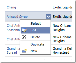 Context menu in a grid view