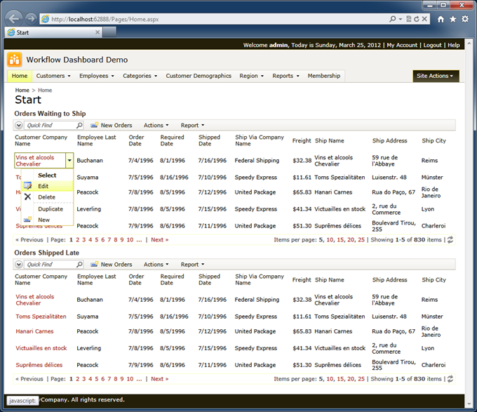 Modified start page of the Workflow Dashboard Demo with two identical views of 'Orders'