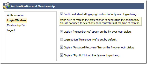Activating a dedicated login page in Code On Time web application