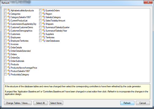 Project Refresh dialog in Code On Time web application generator