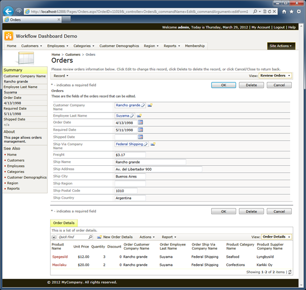 'Orders' page displayed when a user selects an order on the dashboard