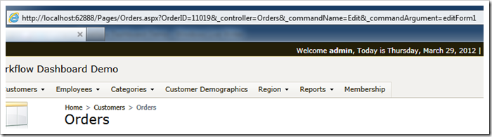 Data controller URL parameters displayed in the web browser address bar.