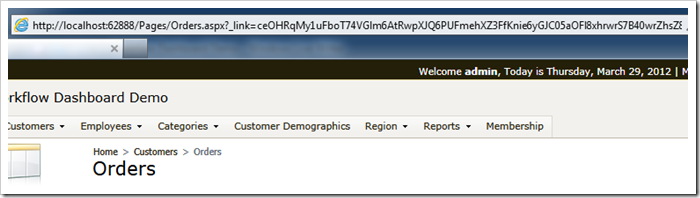 Data controller URL parameters are 'hidden' if URL Hashing is enabled in a Code On Time web application