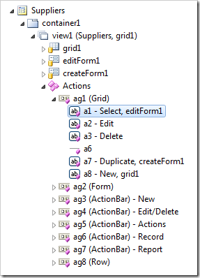 Action group with scope 'Grid' expanded in Project Explorer