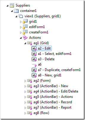 Modified action group in Project Explorer