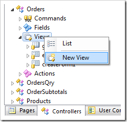Adding a new view to 'Orders' data controller