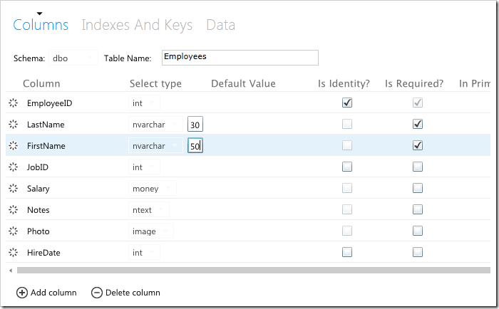 Employees table created in HR database using SQL Azure database management web app