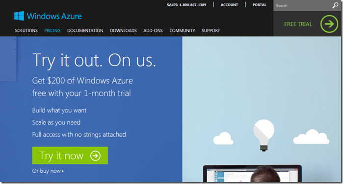 Windows Azure Free trial web page