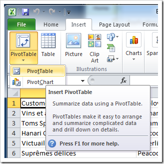 'Insert PivotTable' option in Microsoft Excel