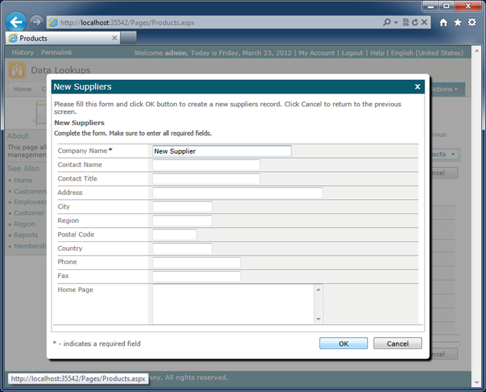 'New ...' modal form displayed in response to in-place lookup creation button click