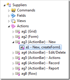 Action 'New' displayed in Project Explorer
