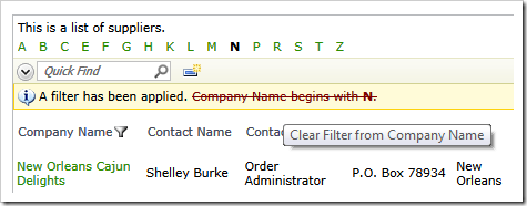Filter element can be removed from the list of active filters via a single mouse-click
