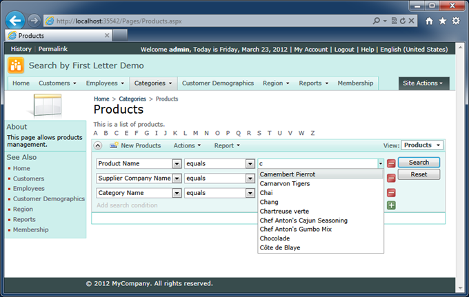 Enabling data view properties 'Search by First Letter' and 'Search on Start' will result in the following presentation when users arrive to the Products page.
