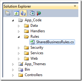 'SharedBusinessRules' code file in the Solution Explorer of a 'Web Site Factory' project