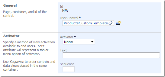 New Control with User Control of 'ProductsCustomTemplate' in Code On Time Project Designer