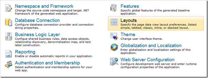 Layouts page under Settings in Code On Time web application generator