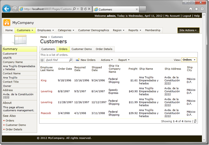 Customers page with Tabbed Layout in Code On Time web application