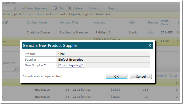 A custom modal form allows collecting action input parameters from application end users