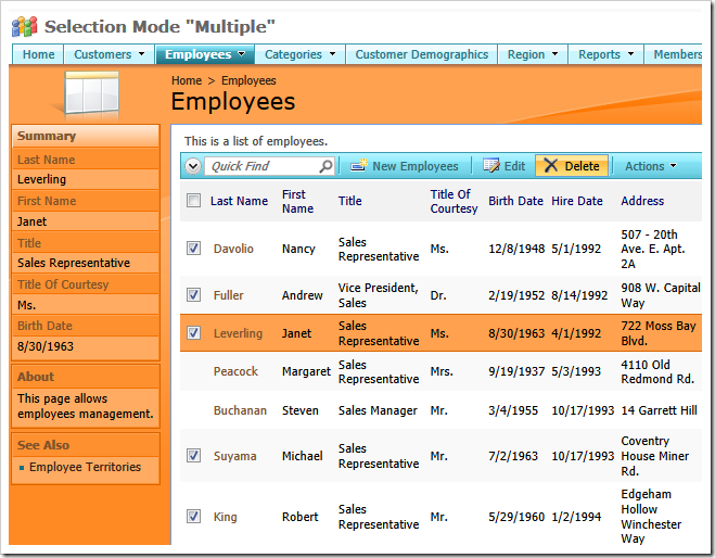 Employees data view with the 'Selection Mode' set to 'Multiple'.