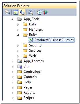 Business Rules class in Solution Explorer of Visual Studio in a Web Site Factory app created with Code On Time web application generator