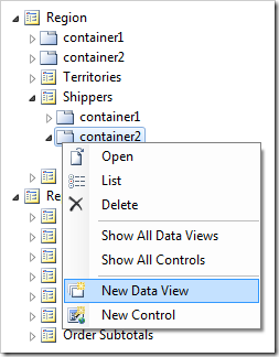 New Data View added to container2 of Shippers page