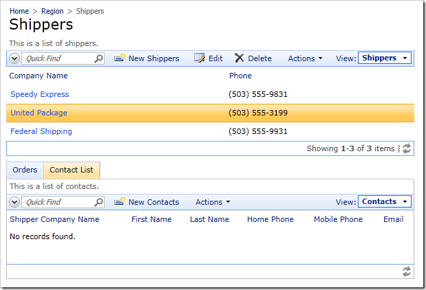 Contacts child data view added to Shippers page