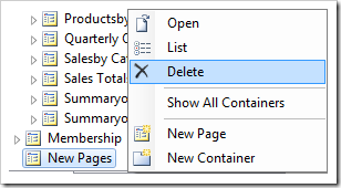 Delete New Pages page node in Explorer