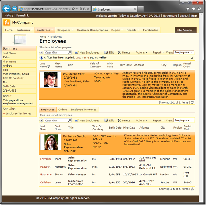 Employees grid view using custom template in Code On Time web application