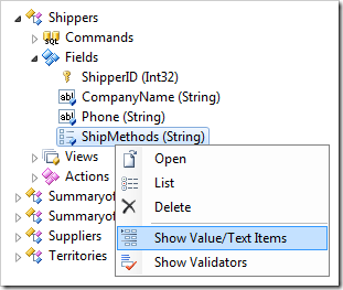 'Show Value/Text Items' option in Code On Time Project Explorer
