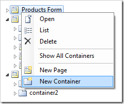 'New Container' option in Code On Time Designer
