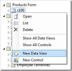 'New Data View' option in Code On Time Designer