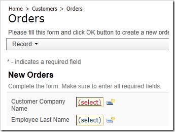 Customer Company Name lookup activation link in New Orders form