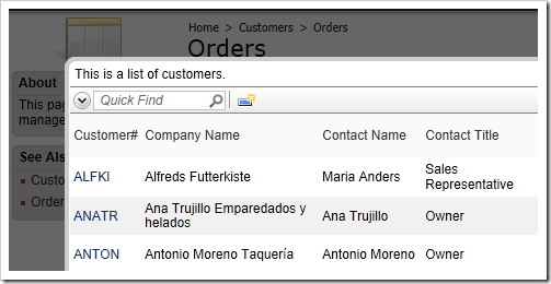 Customer ID lookup window with default description text