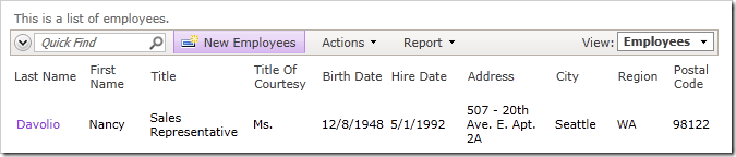 'New Employees' action on the action bar in Code On Time web application