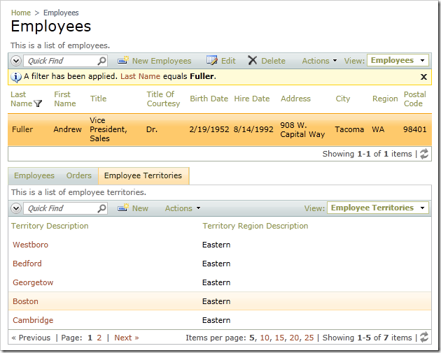 Employee Territories data view showing the Territories for the selected Employee record