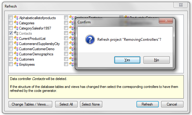 Refresh the project to remove the 'Contacts' data controller