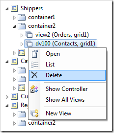 Delete 'dv100' Contacts data view from Shippers page
