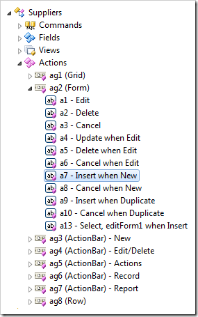 Action node 'a7 - Insert when New' selected in Project Explorer
