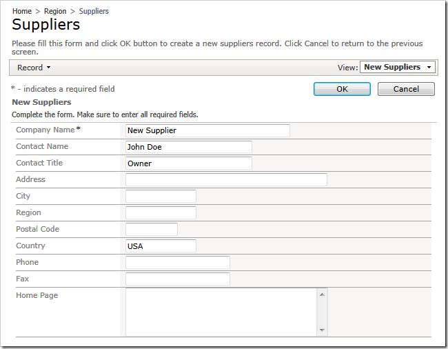 Creating a new supplier in a web app created with Code On Time web application generator