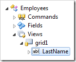 'LastName' data field in grid1 view of Employees controller