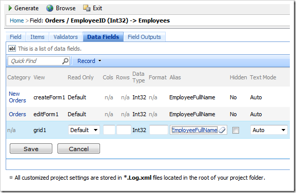 Change Alias to 'EmployeeFullName' for all EmployeeID data fields
