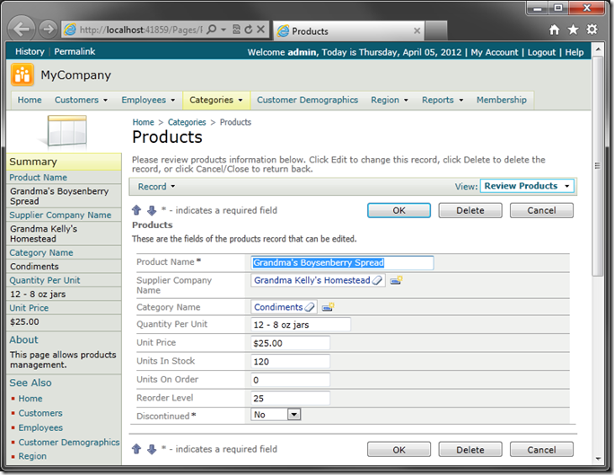 Default 'editForm1' view of 'Products' in sample Code On Time web application