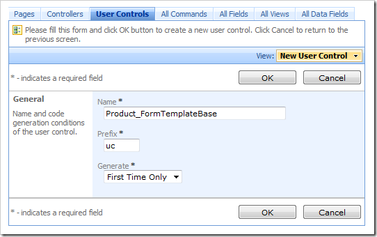 New user control 'Product_FormTemplateBase' in Code On Time Designer