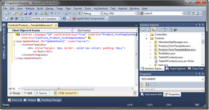 Default User Control markup in Visual Studio