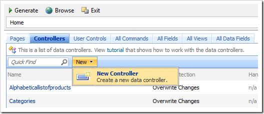 Create a new data controller in Project Designer of Code On Time web application generator