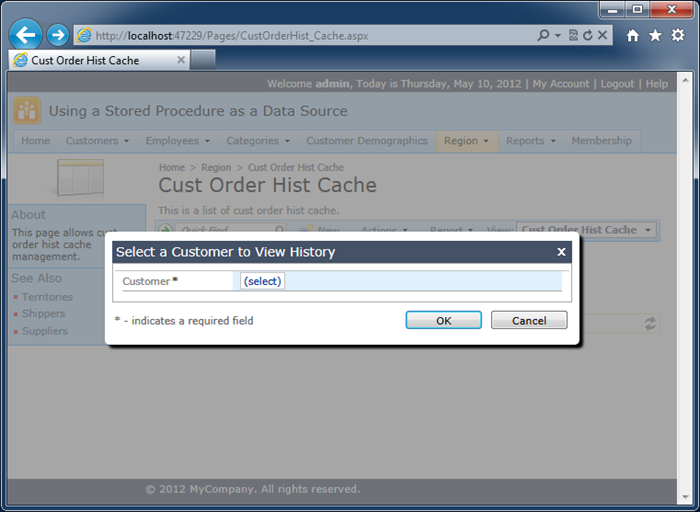 A modal confirmation data controller activate to confirma 'Search' action