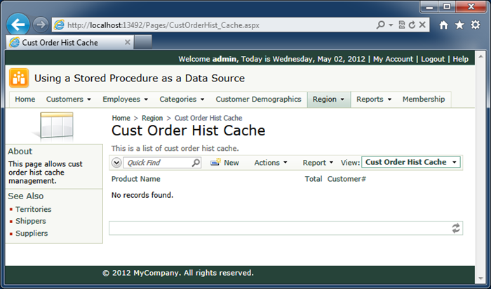 The view of the dedicated page of the output cache table 'CustOrderHist_Cache' in the Northwind project