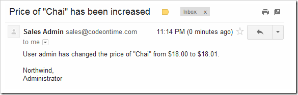 A conditional email notification in Gmail is informing about product price increase