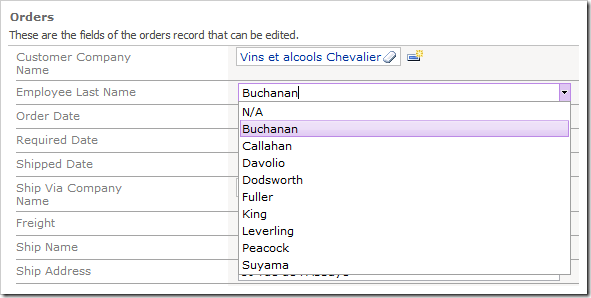 Employee Last Name data field as auto complete showing full list of available options