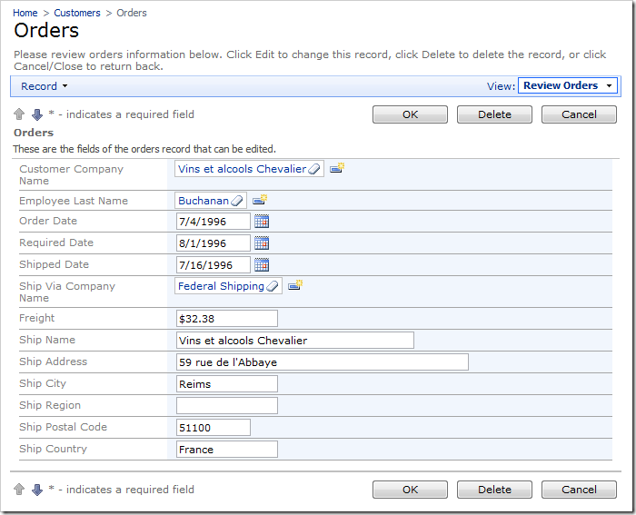 Ship Via Company Name field on the Orders edit form with Lookup item style.